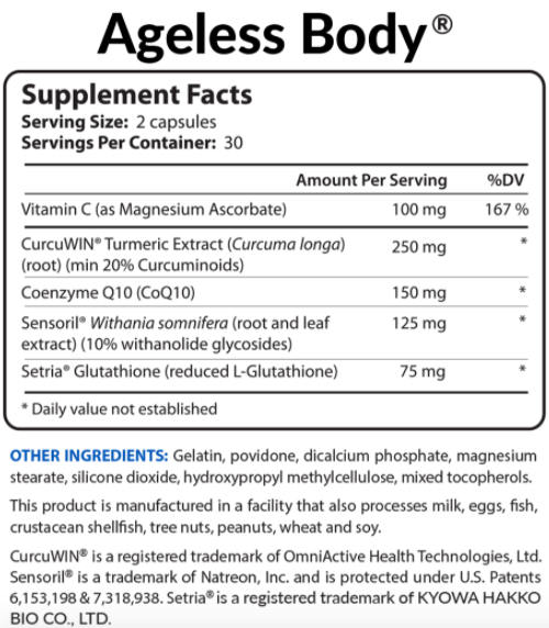 BioTrust Ageless Body Ingredients